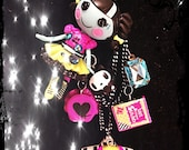Reserved for LilMsmuffet Lalaloopsy zombie fall autumn Scraps kawaii deco den button beaded necklace