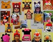 Crochet Pattern PDF - Earflap Zoo Animal Hats - Baby to Adult - Bear Bird Bunny Dino Kitty Monster Mouse Owl Pup Deer Snowman Monkey Turkey
