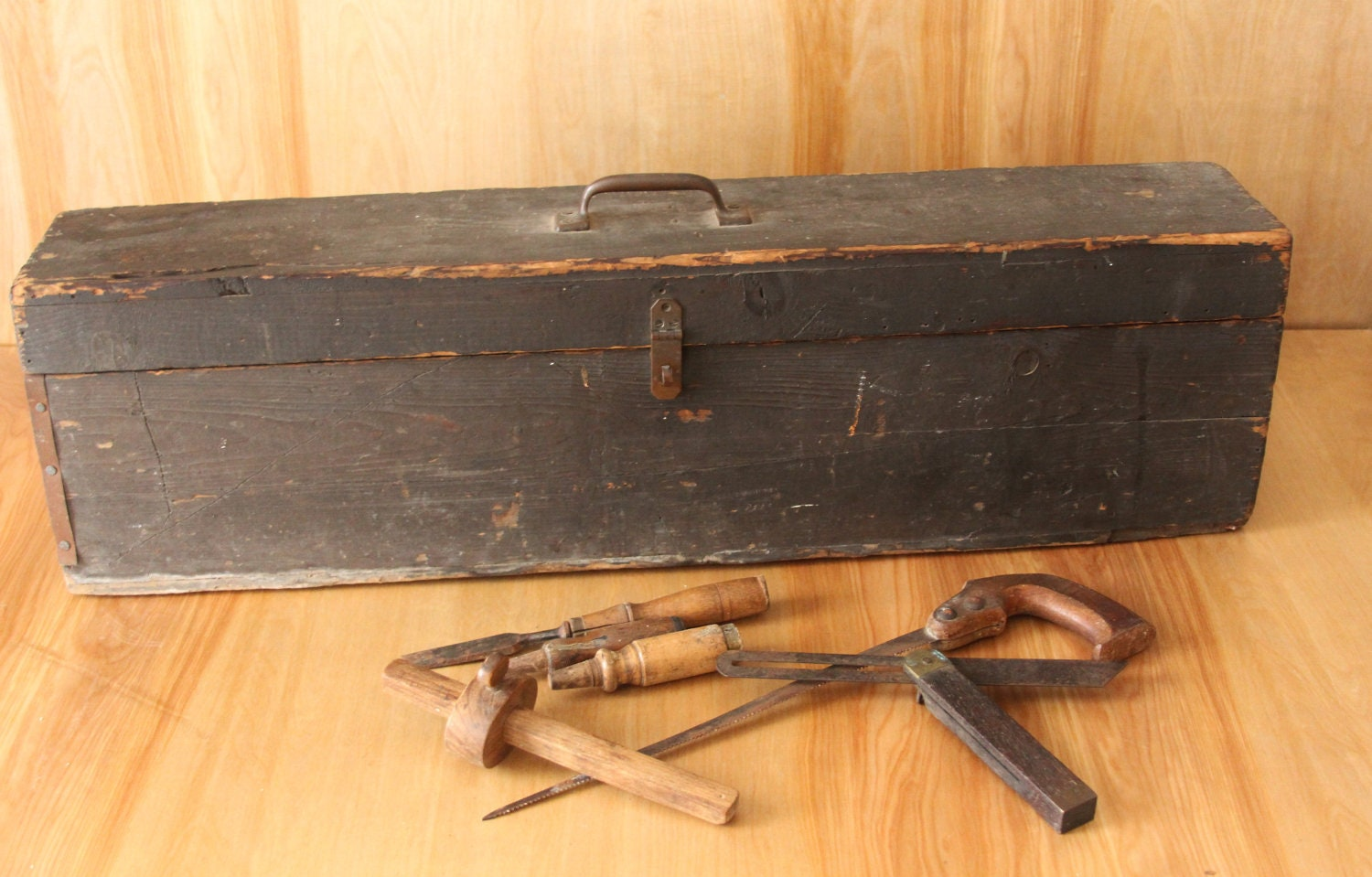 antique wooden tool box with tools