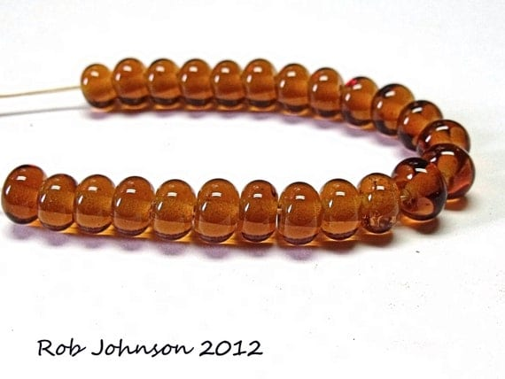 Amber,  Lampwork Glass Spacer Beads