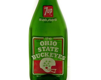 Ohio State Buckeyes Vintage 1972  7-up Bottle MELTED Flat to hang on the wall