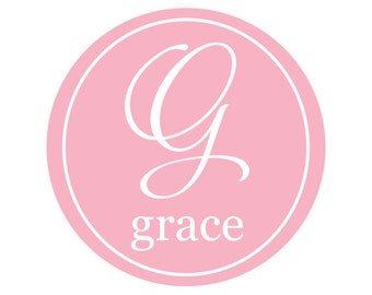 Monogram for Girls Big Stamp Style Vinyl Wall Decal