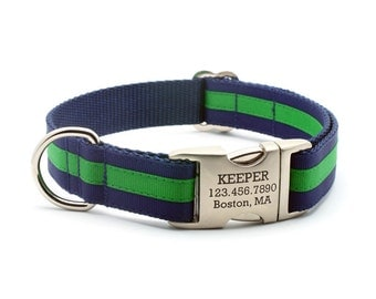 Layered Stripe Laser Engraved Personalized Dog Collar - Navy/Emerald