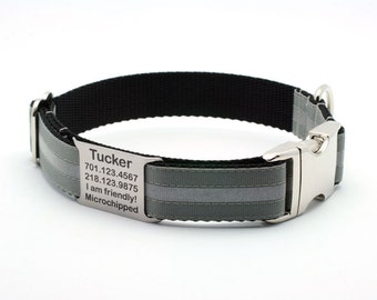Reflective Dog Collar with Built-In Laser Engraved Personalized Nameplate - DOVE GRAY