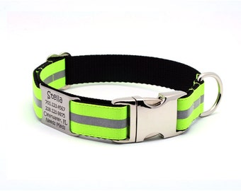 Reflective Dog Collar with Laser Engraved Built-In Personalized Nameplate - NEON YELLOW