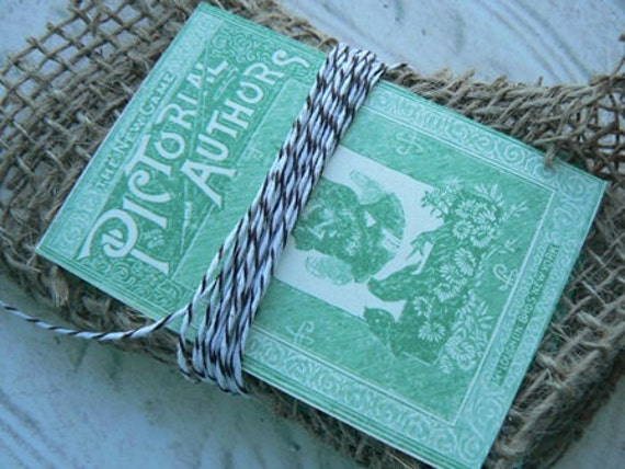 30 Green Vintage Ad Design Altered Art Paper Pieces Wrapped in Burlap with Bakers Twine