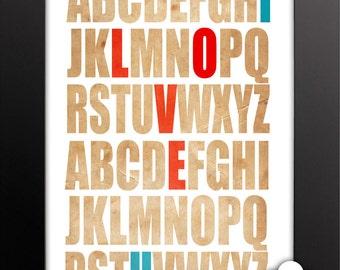 Print: Typographic love — alphabet, typography, anniversary, wedding
