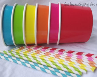 15 Large ICE CReaM cups- 15 paper straws with free printable flags-and diy ice cream labels-red, hot pink,lime green, orange, yellow, blue