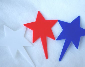 12STaR CuPcake Picks---12ct--red blue and white--parties-cowboy theme--4th of july-patriotic