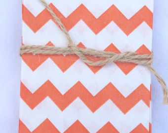 20Tiny CHEVRON Bags--orange--party favors--gifts---weddings--showers--20ct-