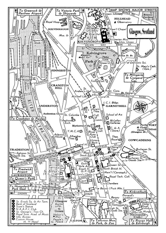 Glasgow 1949 Vintage Map Of Downtown Glasgow Scotland 11x17