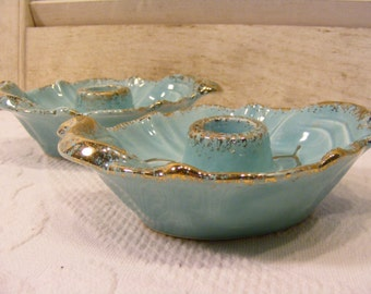 Turquoise Blue and Gold Candle Holders