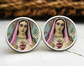 Virgin Mary Cuff Links,  Blessed Heart Cufflinks