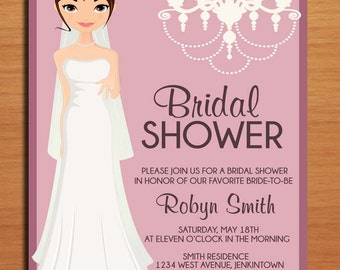 Mauve and Pink Bride with Chandelier Bridal Shower Customized Printable Invitations /  DIY