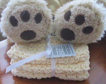 Crocheted Baby Washcloths in Vanilla