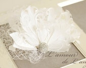 Bridal feather flower head piece with Rhinestone and crystals, white colour