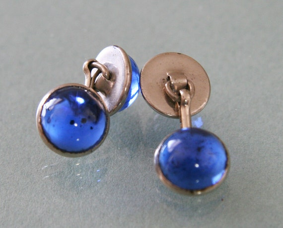 Vintage Silver & Sapphire Blue Cufflinks -:- Double Faced