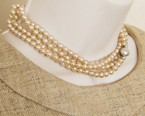 Vintage Hand-Knotted Strand of Cream Pearls -:- 60 Inch, Saupier