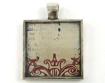 Abstract Art Pendant, Collage Pendant, Rustic Burgundy Tan Ornate Grunge Collage Jewelry Charm