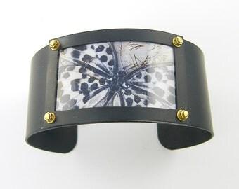 Butterfly Cuff Bracelet, Black White Butterfly Bracelet, Brass Butterfly Bracelet, Bold Statement Bracelet, Insect Bracelet |CC