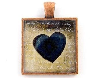 Heart Pendant - Dark Heart Collage Art Charm Blue Tan Copper Jewelry