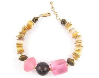 Seashell Bracelet, Chunky Bead bracelet, Pink Beaded Bracelet, Pink Tan Bracelet Brown Jewelry