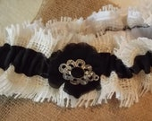 Wedding Garter Burlap White and Black with Black flower and Embelishment
