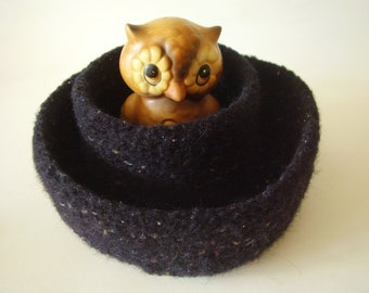 felted wool bowl containers set of 2 onyx mix