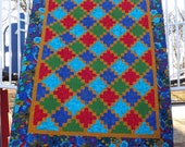 Bold, Vibrant and Beautiful Nine Patch Lap Quilt