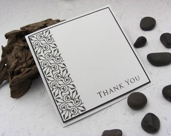 """Thank You Cards Set of 5 Monocrome 5"""" by 5"""""""