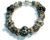 Classic Black, White and Clear Stones - European Style Bracelet