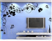 Flower Wall Decals Wall Stickers wall decor,home decor- Beautiful Flower With Butterfly