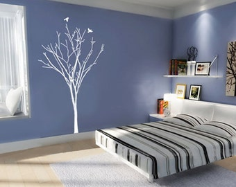 Vinyl Wall Decal Wall Sticker Tree Decals murals graphic wall art decor-Winter Tree with Birds 90in