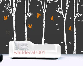 Wall Decals wall stickers-set of 5 100in birch trees