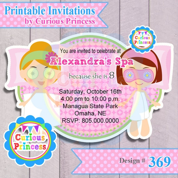 Items similar to 369 spa birthday party invitations - African american party ideas ...