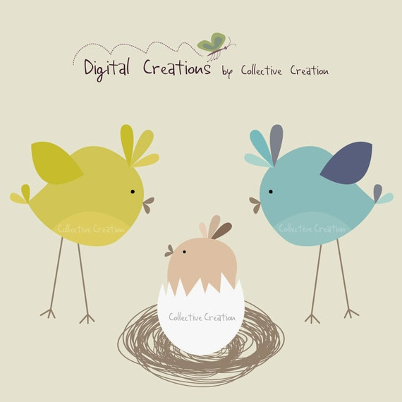 Baby Bird in Egg Digital Clipart Clip Art by ...
