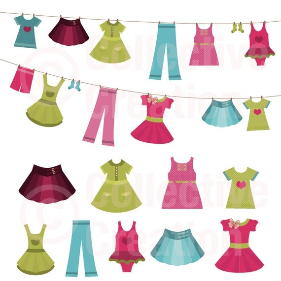 Girls Clothes On Line Clip Art Clipart Set By Collectivecreation