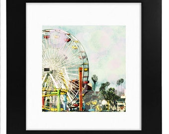 Santa Monica Ferris Wheel, Framed Photography Art Gift Idea, 8x8 Photography Framed, Ferris Wheel Nursery Decor