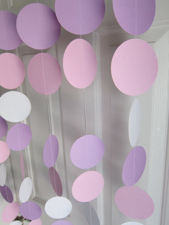 Paper Garland,  White, Pink, and Purple Garland, Baby Shower Decorations, Princess Birthday, Girl Baby Shower