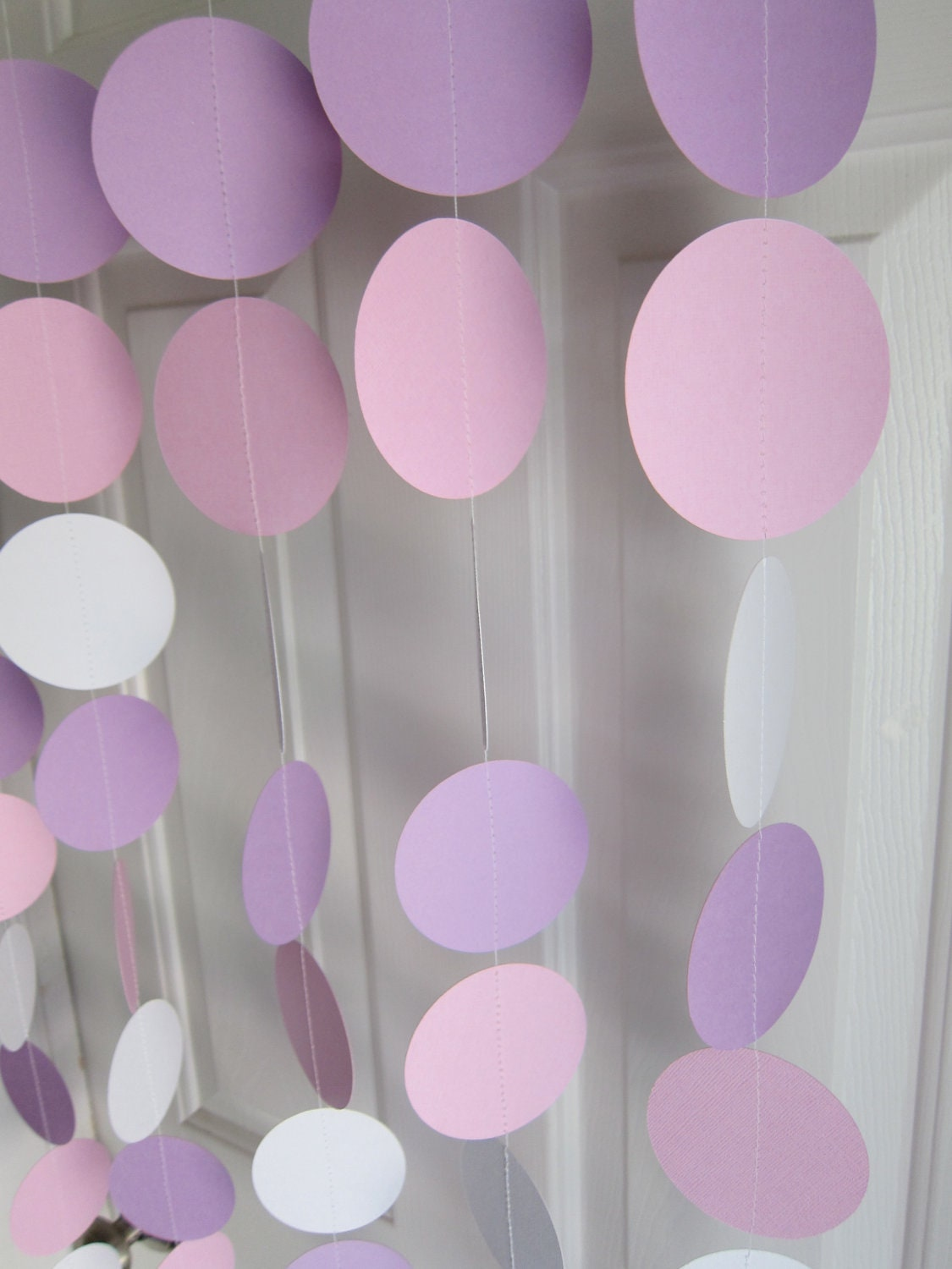 paper garland white pink and purple garland baby shower