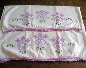 Vintage LAVENDER EMBROIDERED PILLOWCASE Set - Hearts Flowers