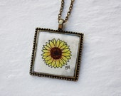 Hand Painted Necklace - Sunflower Watercolor Pendant - Wearable Art