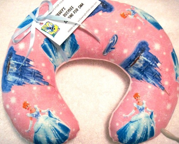 Travel Pillow - Head Neck Support - Toddler Infant Baby - Cinderella - Pink Star Minky - Disney Princess - Girls
