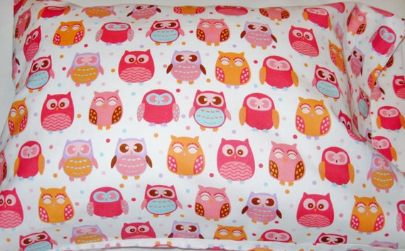 Pillowcase - Toddler Child Travel Size - Happy Owls - Hot Pink Orange - Girls