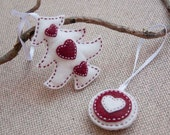 Christmas tree red and white ornaments - set of 2 ornaments,  felt christmas ornaments