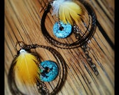 Boho Chic Mixed Metals - Macaw Feather Earrings FREE SHIPPING