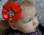 SALE Christmas Baby Headband Red and Silver - Red Flower Christmas Headband - Christmas Headband