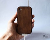Leather iPhone 4 4S case / bumper Vintage without stamp