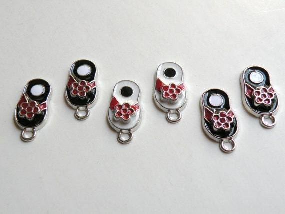 6 Black red and white flip flop shoes enamel charms sandals FCW192