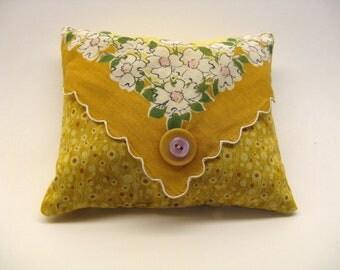 Hankie Sachet, Repurposed Vintage Hankerchief, Lavender and Roses